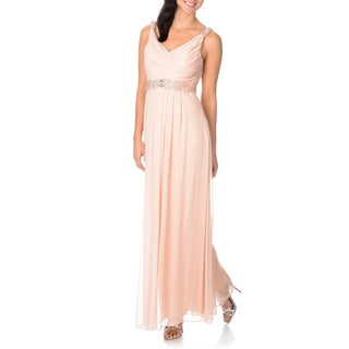 Cachet Women's Sleeveless Beaded Empire Waist Gown