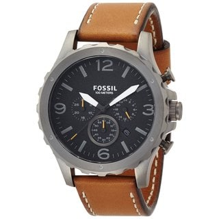 Fossil Men's JR1467 Nate Black Dial Brown Leather Watch