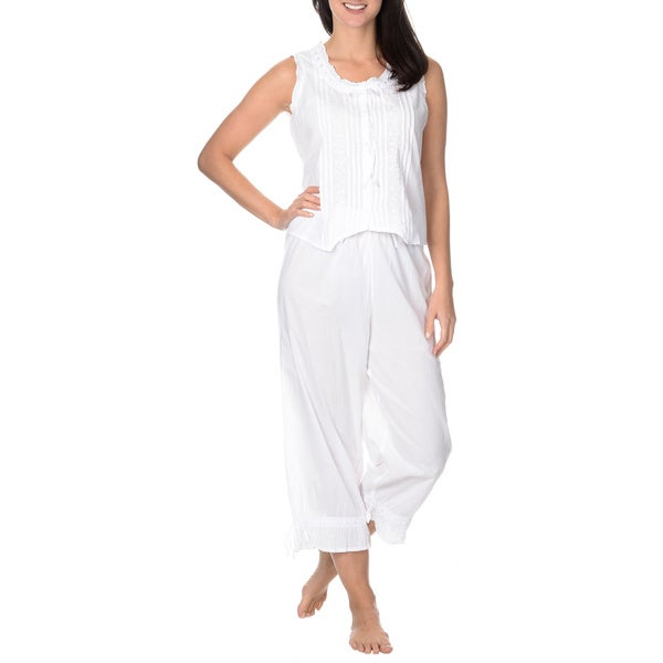 La Cera Women's Ruffle Edge 2-piece Pajama Set