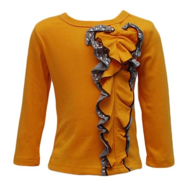 Girl's Yellow Long Sleeve Detail Ruffle Shirt