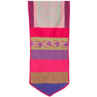 Purple and Blue Cotton/ Silk Applique Table Runner (India)