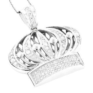 Luxurman 14k White Gold 1 3/8ct Men's Crown Diamond Pendant (H-I, SI1-SI2)