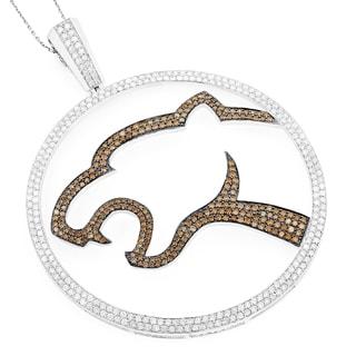 Luxurman 18k White Gold 4.48ct White and Brown Diamond Leopard Pendant (Brown VS1-VS2, G-H, VS1-VS2)