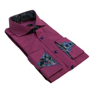 Bogosee Men's Plum Long Sleeve Solid Woven Shirt