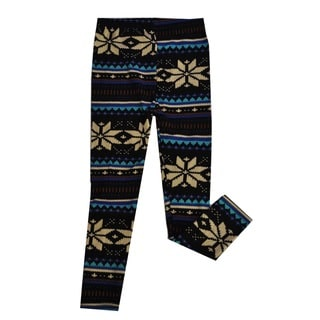 Girl's Blue and Ivory Snowflake Leggings