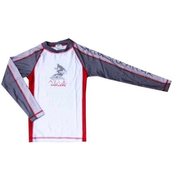 Azul Boys' Swimwear Long Sleeve Red Combination Rashguard