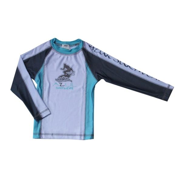 Azul Boys' Swimwear Long Sleeve Aqua Combination Rashguard