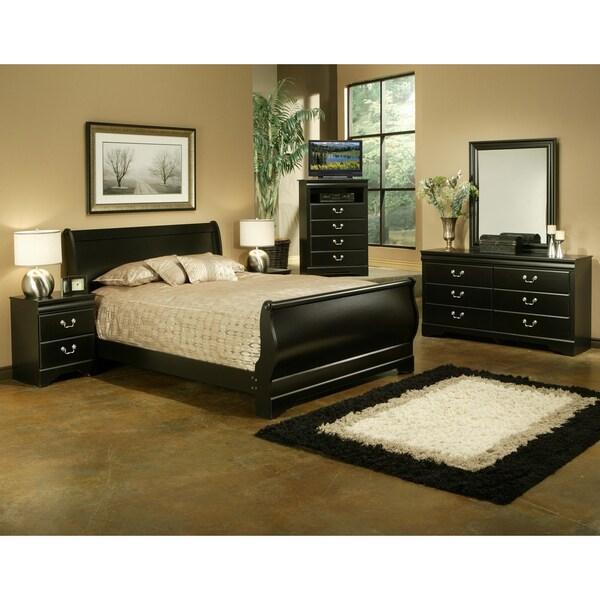Sandberg Furniture Regency 4 Piece Black Laminate Bedroom Set