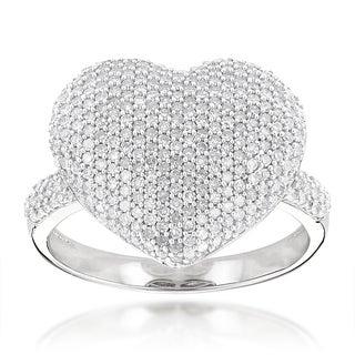 Luxurman 14k White Gold 1.167ct TDW Diamond Heart Ring (H-I, SI1-SI2)