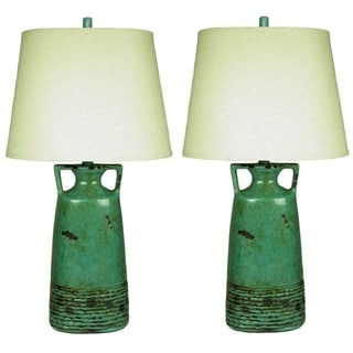 JT Lighting Rustic Teal Table Lamp (Set of 2)