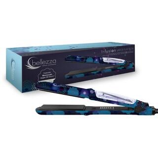 Bellezza Mettalic Rubber 1.25-inch Steam Blue Blossom Flat Iron