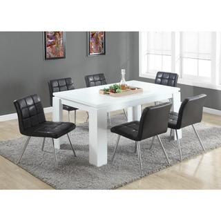 Black Faux Leather Chrome Metal Dining Chair (Set of 2)