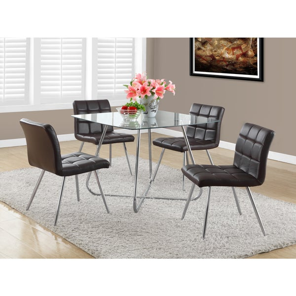 Brown Faux Leather Chrome Metal Dining Chair (Set of 2)   16853027