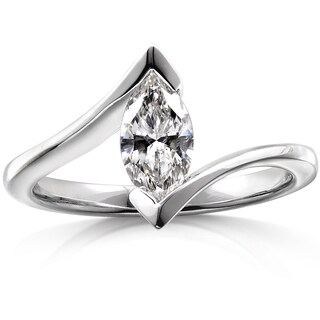 Annello 14k White Gold 1ct Certified Marquise Diamond Solitaire Engagement Ring (G, SI3)
