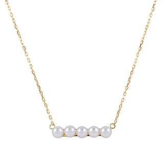14k Yellow Gold Freshwater Pearl Center Necklace 5-5.5 mm