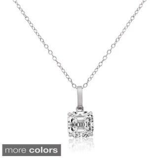 Gioelli 14k Gold Asscher-cut Cubic Zirconia Pendant Necklace