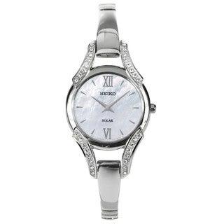 Seiko Women's SUP213 Solar Mother of Pearl Stainless Steel Watch