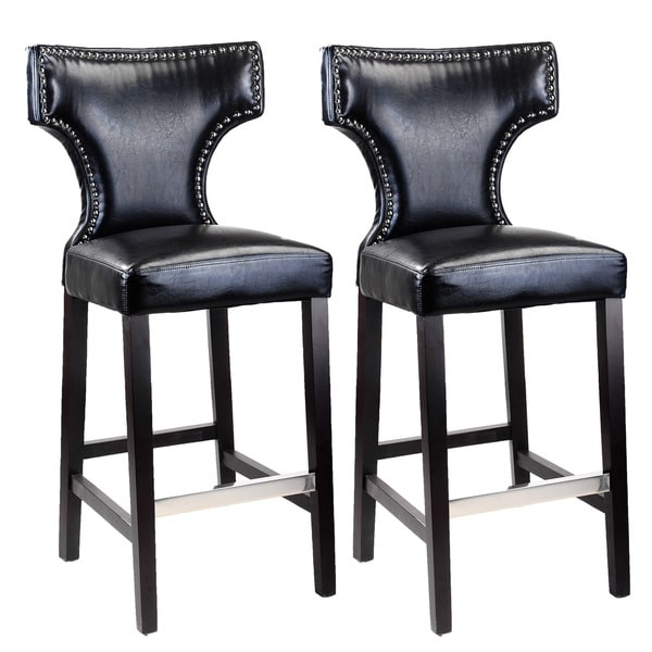 Corliving Kings Bar Height Barstool With Metal Studs Set