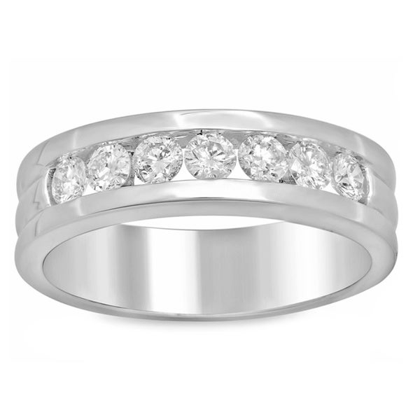 14k White Gold Men's 1ct TDW Channel-set Diamond Ring (F-G, SI1-SI2)