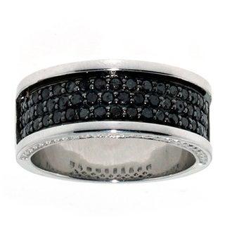 10k Goldplated Sterling Silver 1.25ct TDW Men's Black Diamond Band (I2-I3)
