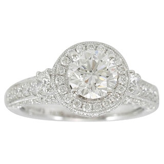 Suzy Levian 18k White Gold 2 1/5ct TDW Diamond Halo Engagement Ring (F-G, SI1-SI2)