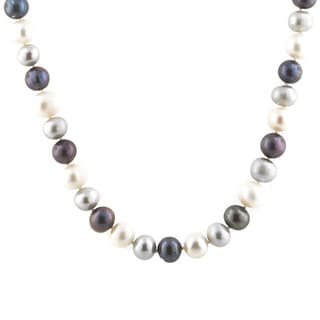 Sterling Silver Freshwater White, Grey, Black Pearl Necklace (9 mm)