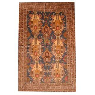 Herat Oriental Semi-antique Afghan Hand-knotted Tribal Balouchi Dark Green/ Brown Wool Rug (6'2 x 9'8)