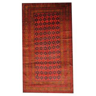 Herat Oriental Semi-antique Afghan Hand-knotted Tribal Balouchi Red/ Navy Wool Rug (5'11 x 10'7)