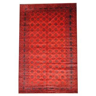 Herat Oriental Semi-antique Afghan Hand-knotted Tribal Balouchi Red/ Brown Wool Rug (6'8 x 10'3)