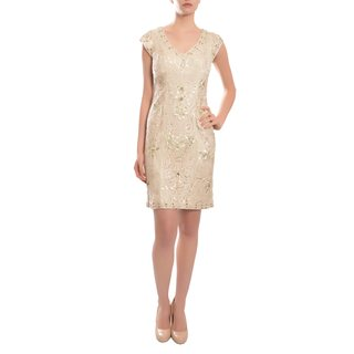Sue Wong Women's Champagne Beaded Cocktail Dress