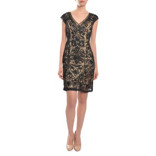 Sue Wong Women's Black Embroidered Beaded Cap Evening Dress