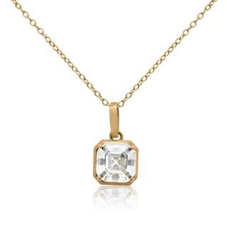 Gioelli 14kt Yellow Gold 3ct TGW Cubic Zirconia Pendant Necklace