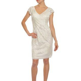 Sue Wong Women's Angelic White Beaded Open-back Dress