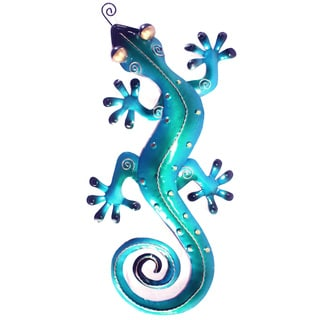 Small Iron Blue Gecko Wall Décor (Indonesia)