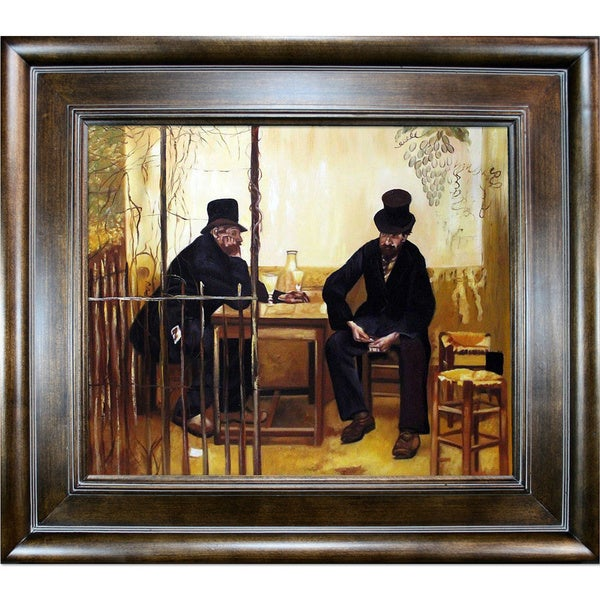 Jean Francois Raffaelli 'The Absinthe Drinkers' Hand Painted Reproduction Framed Canvas Art