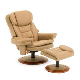 Mac Motion Chairs Bruite Sand Top Grain Leather Chair and Ottoman
