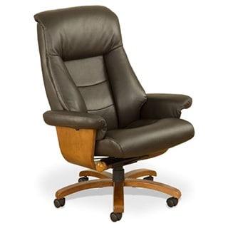 Mandal-E Espresso Top Grain Leather Swivel Office Chair