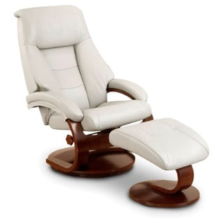 Mandel-P Puddy Top Grain Leather Swivel Recliner with Ottoman