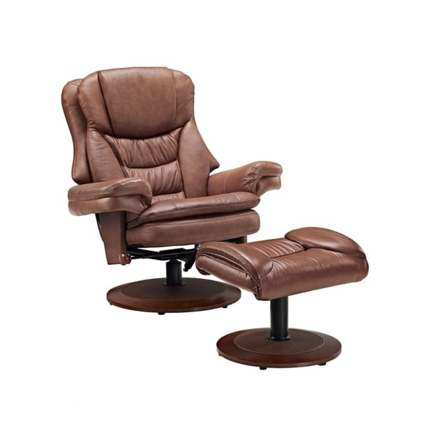 Bruite Saddle Top Grain Leather Recliner with Ottoman