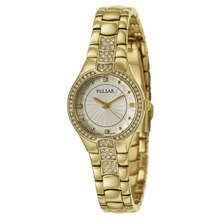 Pulsar Women's PH8060 'Night Out' Stainless Steel Yellow Goldtone Crystals Quartz Watch