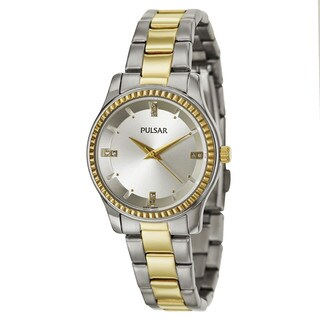 Pulsar Women's PH8100 'Easy Style' Stainless Steel and Yellow Goldtone Quartz Watch