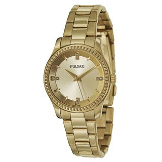 Pulsar Women's 'Easy Style' Stainless Steel Yellow Goldtone Quartz Watch