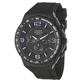 Pulsar Men's 'On The Go' Stainless Steel Black Ion Plated Quartz Watch