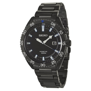 Seiko Men's 'Core' Black Stainless Steel Kinetic Watch