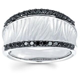 14k White Gold 3/8ct TDW Black Diamond Fashion Ring