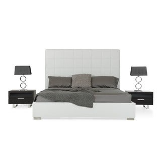 Modrest White Textured Leatherette Headboard Platform Bed