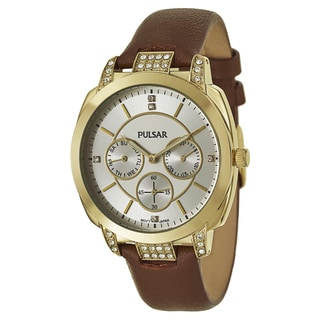 Pulsar Women's 'Night Out' Stainless Steel Yellow Goldtone Crystal Quartz Watch