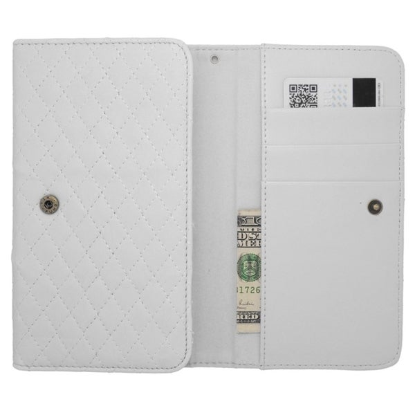 INSTEN Universal White Leather Horizontal Slide in Pocket Phone Case For 6.3-inch Size Phone