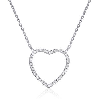 Dolce Giavonna Sterling Silver Cubic Zirconia Open Heart Necklace