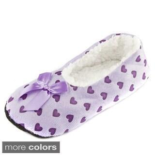 Leisureland Women's Heart Pattern Cozy Slippers